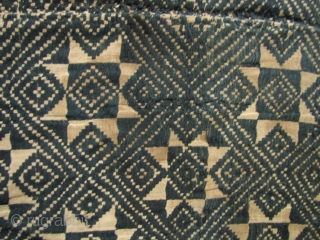 Southeast Asia: Nice old Tai Dam (Black Tai) blanket from Laos with bold eight pointed star pattern. Circa 60-80 years old. The backing and border are made from contemporary handspun and handwoven  ...