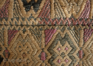 Chinese Minority Textile: Exceptionally fine supplementary weft silk embroidered pair of child's blanket panels woven onto handspun indigo dyed cotton circa 60 to 80 years old, possibly older), framed onto a contemporary  ...