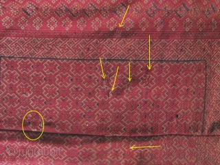 """Zhuang Child's Blanket: Beautiful old Zhuang minority textile from Guangxi Zhuang/Guizhou province, China. Woven in two panels with silk embroidered """"diamond and star"""" patterned border. There are small repairs noted in enlargement  ..."""
