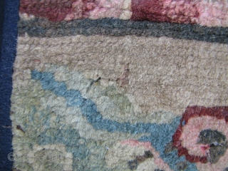 Tibetan Dragon Rug: Rare and wonderfully composed late 19th to early 20th century rug fragment. All wool pile, warp and weft with mostly natural dyes. A few small areas of missing pile  ...