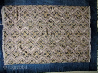 Fine old Bouyi (aka Buyi) three paneled wedding blanket from South China. This is woven from all hand spun cotton and silk floss thread and natural dyes (exception being the purple dye  ...