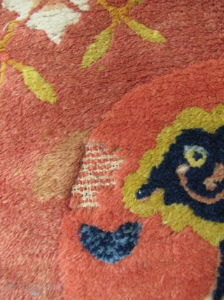 """Chinese Ningxia Temple Rug: Good, circa late 19th/early 20th CE, Ningxia Tibetan Buddhist temple runner with two playful female """"foo dogs"""" and pup, medallions, representing the nurturing aspect of the Yin principle,  ..."""