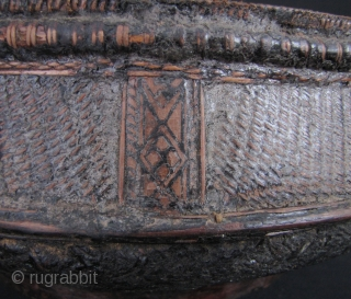 Cambodian Basket: Nice old Cambodian lacquered basket. Very few things survived the reign of the Khmer Rouge which makes old baskets quite rare. Circa 70 years old, there are some old repairs  ...