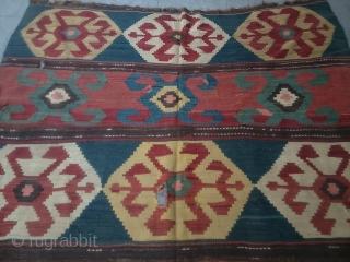 Antique Caucasian Kazak Kilim Great Colors and Old piece size 265x185