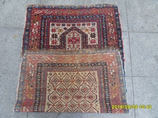 Antique Caucasian Shirvan Prayer Marashali Carpet size: 145x85