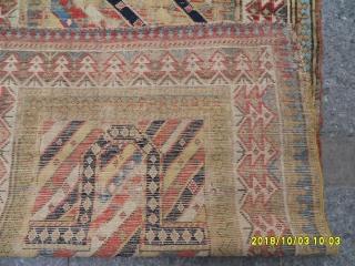 Antique Caucasian Prayer Gence Carpet size: 152x86
