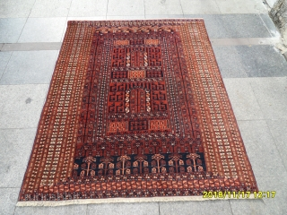 Antique Türkmen Prayer Ensi Carpet Perfect size: 172x140