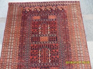 Antique Türkmen Prayer Ensi Carpet Perfect size: 172x140