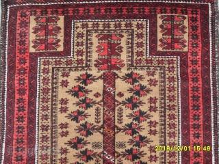 Antique Türkmen Belüç Prayer Carpet size: 155x96