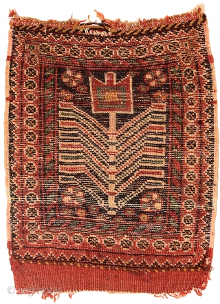 Pile bag face, Afshar tribe, Southern Persia, Circa 1900, 43 x 35 cm (17 x 14 in.)  Knot count:8 H x 9 V = 72 kpsi. Colours:brick red, dark blue, yellow, emerald green,  ...