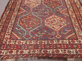 Old Khamseh from 1910's / 20's.Slight overall wear,but generally in very good condition.No patches or reweaves.It has been cleaned.Original sides and one original end with kilim.The other end has no kilim.Feel free  ...