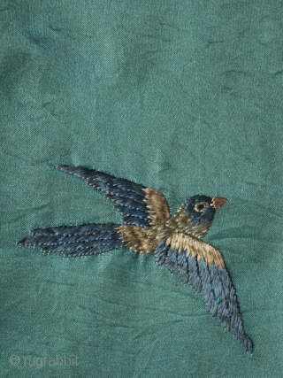 "Unusual Chinese ""100 birds"" silk embroidery dating to late 19th century. The execution is charming and playful in a way we haven't seen on any other examples and the green ground is  ..."