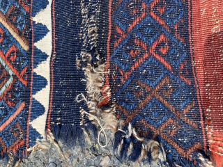 """Turkish Kilim / Sumak Weaving front or possibly back a bag Size: 2'9"""" x 3'3""""   *as is condition *   White is cotton"""