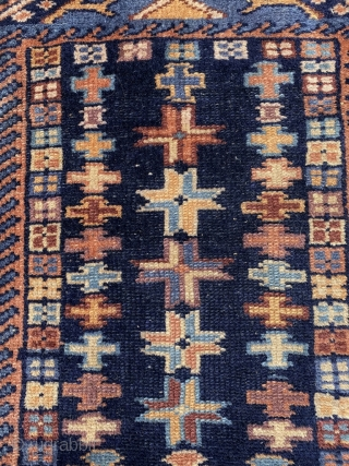 Karadagh Double Mirhab prayer rug, 19th century with lots of purple. Double mirhab rugs are supposed to have been used at funerals. It goes some way to explain the soft palette. Rare  ...