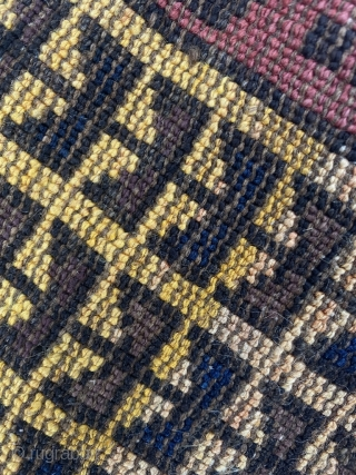Baluch prayer rug. Real camel wool. Yellow is from willow bark. Size 56.7 x 31.5 inch (144 x 80 cm). You can reach me at alexanderbakker@flairforflavor.com, as the RR mailing system seems  ...