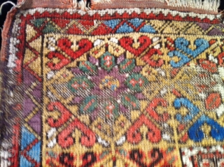 "mid 19th century central Anatolian  mujur rug rough condition but great color size 46""X58"""