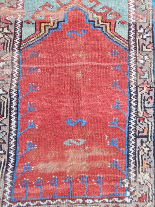 Antique Anatolian Konya Prayer Rug 