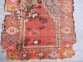 Antique Anatolian Konya Village Prayer Rug