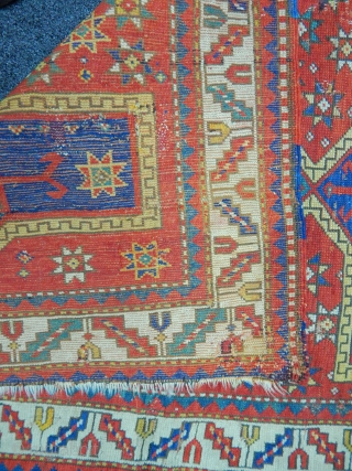 Antique  Caucasian Fahrola Carpet 