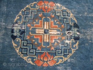 "antique chinese rug great design and colors 8' 9"" x 11' worn as shown solid very floppy fresh estate rug 365.00 usd plus shipping. SOLD THANK YOU"
