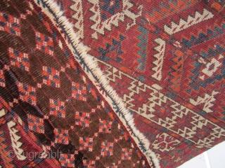 "antique turkoman ensi rug good condition good colors 375.00 plus shipping 46"" x 55"""