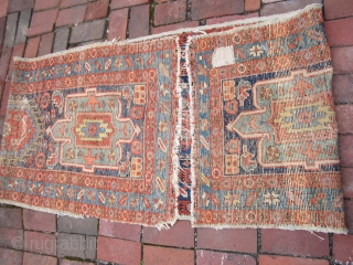 "nice antique karaja rug in worn condition as shown measures 2' 4"" x 9' 5""nice colors specially in the backside in the last couple of pictures no dry rot and no holes  ..."