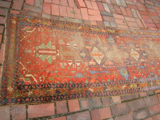 "worn wool on wool karaja rug solid rug beautiful colors no dry rot 3' x 10' 11"" 325.00 plus shipping SOLD THANKS"