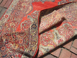 "nice estate oriental rug looks like tabriz to me but not sure any suggestion will be great it measures 4' 8"" x 6' 5"" solid floppy rug minor foundation worn ends SOLD  ..."