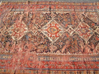 "antique ghashgaie rug 4' 7"" x 7' worn condition great colors creased .  SOLD THANKS"