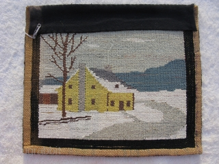 Semi-Antique American hooked rug, American Folk Art rug, hand woven, Labrador or Newfoundland, ca.1930-s, without a label we can only say Grenfell Mission type, a winter farm scene with yellow house and  ...