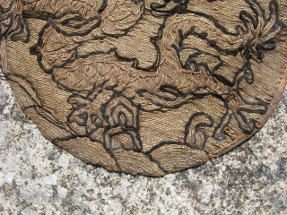 Antique Chinese insignia roundel, hand couching of metal threads and black thread, China, 19thC, Ch'ing Dynasty, round rank badges with 4 claw dragons, Mang, striding in profile, were traditionally reserved for members  ...