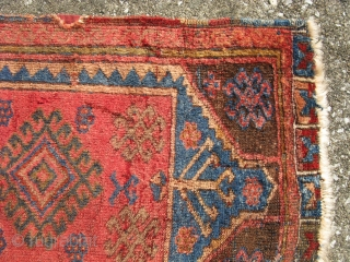 Antique Yoruk Yastik, Eastern Turkey, Kurdish, hand knotted wool, 19thC, very poor condition but still displays nicely with glossy wool, the approximate size is 18.5 inches x 31 inches, shipping is extra