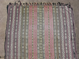 Vintage Indonesian Ikat textile, Savu Island, hand woven cotton, warp face plain weave which makes it reversible, 40 warp threads per linear inch, Savunese men's ceremonial wearing blanket, called a Hig'i Wo  ...