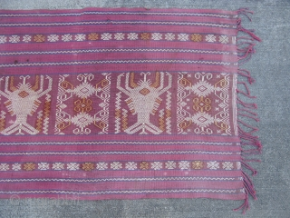 Old Indonesian textile, Sumba Island, hand woven cotton, warp face plain weave, the design in ivory supplemental warps, two prominent crayfish or lobsters on a red ground, there are no orange fibers,  ...