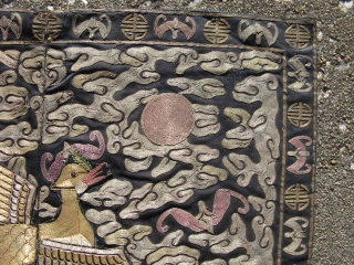 Antique Chinese textile, hand woven Mandarin square, rank badge with applique peacock, 3rd civil rank, woven in two pieces for the front of a woman's robe, fine couching of gold and silver  ...