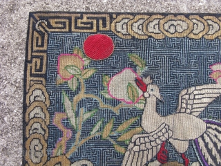 Antique Chinese textile, rank badge, mandarin square, with applique silver pheasant, 5th civil rank, and applique red sun, hand embroidered silk and gold and silver threads, fine petit point with an average  ...