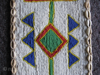 Vintage African hand made beaded hanging, Yoruba People, Nigeria, shaman's divining hanging, could also be worn as a ceremonial garment, polychrome glass beads and cowry shells on fabric, there is a beaded  ...