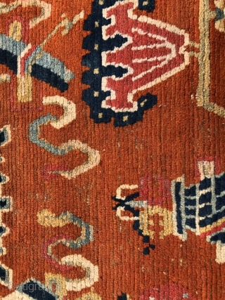Antique Tibetan rug, 139*72cm. Chinese eight treasures of Buddha pattern. without any repair.