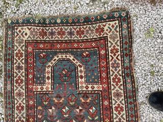 Sweet little Gendge prayer rug. Lovely teal colour. Edges need securing.  150 by 82cm