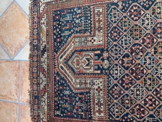 Interesting Daghestan prayer rug. Great colours especially in the border. Lots of intriguing animals and icons. Love the change of pattern in the field. Some holes and fraying of edges