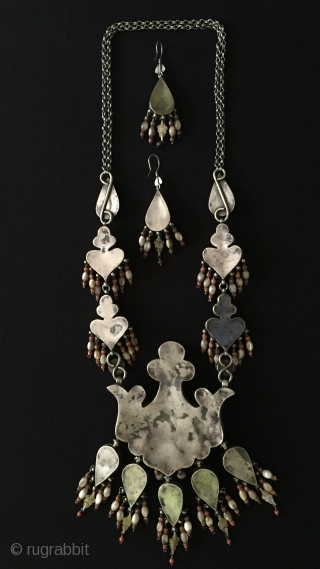 Central-Asia Uzbekystan-Bukhara Antique Ethnic Tribal Silver Necklace and Earrings with turquoise and coral fire gilded Collector pieces. Best condition Circa-1900 Size : 59 cm x 19 cm - Earrings : 11 cm  ...