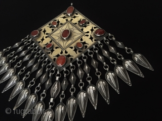 Central-Asia Turkmen-Tekke Ethnic Tribal Silver Tassel Pendant with cornalian fire gilded Talisman design Excellent condition Circa-1900 Size : '19.5cm x 12cm' - Weight : 148 gr Thank you for visiting my rugrabbit  ...