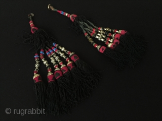 A pair Uzbek Traditional Ethnic Silver Tassel decorative and accessories (2-pieces) Lenght : ''37cm'' Thank you for visiting my rugrabbit store !