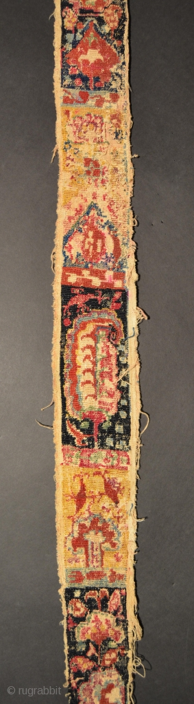 Central Asian Shahrisabz Embroidery, Silk/Cotton, 19th Century, 57 x 3 inches, Worn areas, some marks with felt tip pen