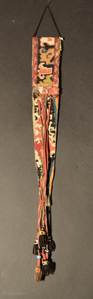 Central Asian Shahrisabz Knife Sheath, Silk Cotton, Late 19th/Early 20th Century,13.5 x 2 without tassels