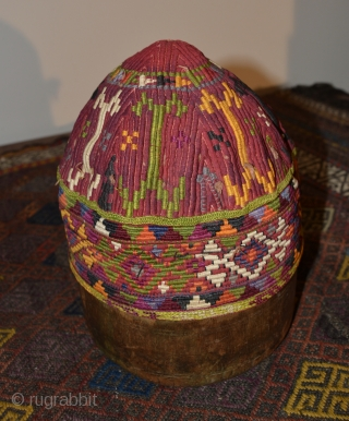 Central Asian Hat, Silk/Cotton, 6 x 7 inches