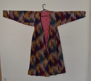 Central Asian Ikat Chapan, Silk/Cotton, 20th Century, 48 x 62, Turkmen/Northern Afghanistan