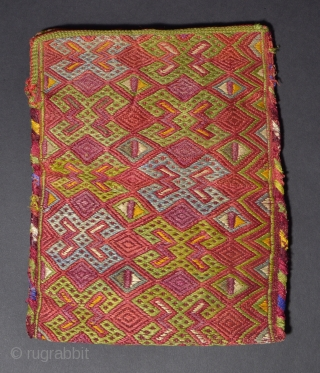 TR 111  Turkmen Embroidered Bag, Silk/Cotton, Late 19th/Early 20th Century. 7.7 x 6.2 inches