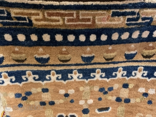 Great antique mid 19 C Chinese Ning hsia pillar rug excellent full pile condition one tiny old repair only Great wool and colours. Size 202 x 74 cm