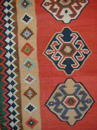 """Antique Qashqai kelim ca 1880 size 91"""" x 57"""".  Fine and floppy piece with great saturated natural dyes which sits flat on the floor. Few old repairs to field (mostly shown  ..."""